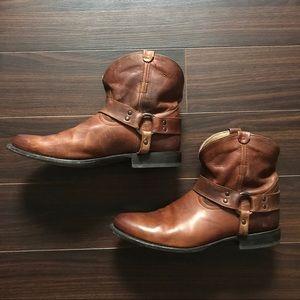 Frye Cognac Harness Ankle Booties- 11